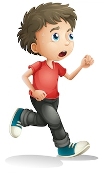 Мальчик бежит на белом фоне