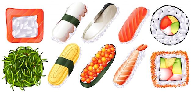 白い背景の上の寿司のセット