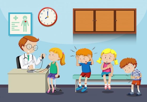 病気の子供たちが医者に会うのを待つ