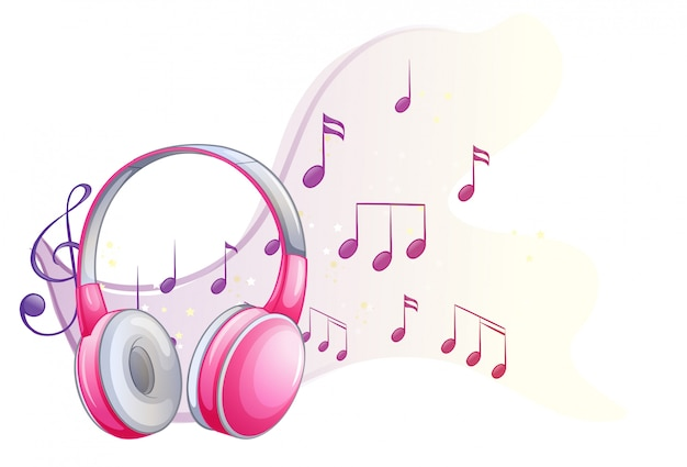 バックグラウンドで音符とピンクのヘッドフォン