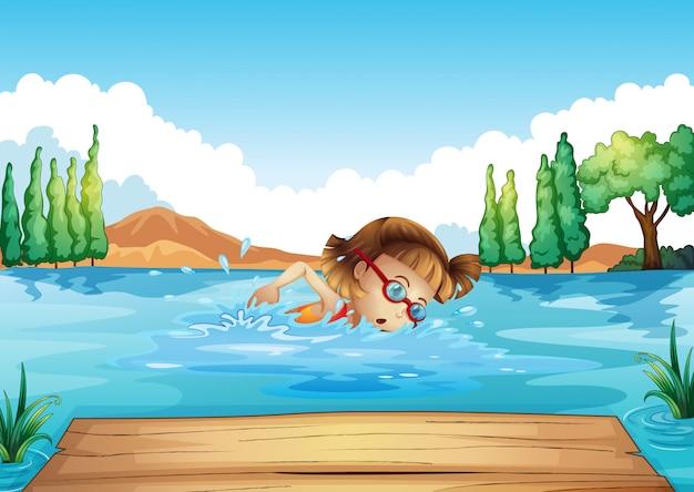 水泳を練習している女の子