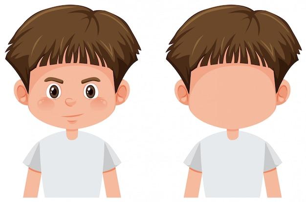 ブルネットの少年キャラクターのセット