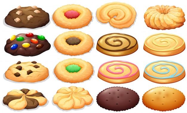 異なる種類のクッキーイラスト