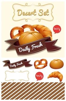 Десерт набор с хлебом и булочкой иллюстрации