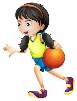 Девушка играет в баскетбол на белом фоне