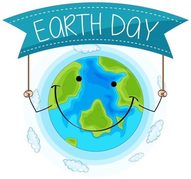 幸せな地球の日のコンセプト