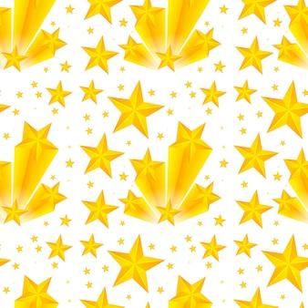 黄色の星とのシームレスなパターンデザイン
