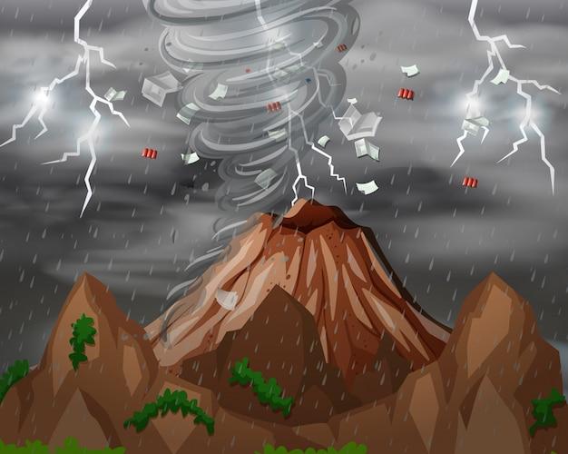 サイクロンが山を襲う