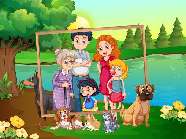 Семья на деревянной раме