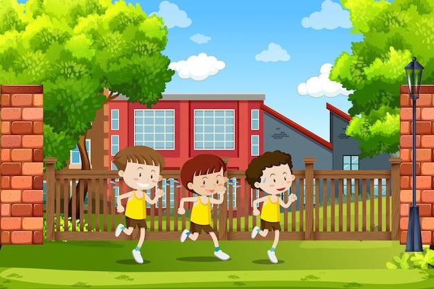 走っている少年たちのグループ