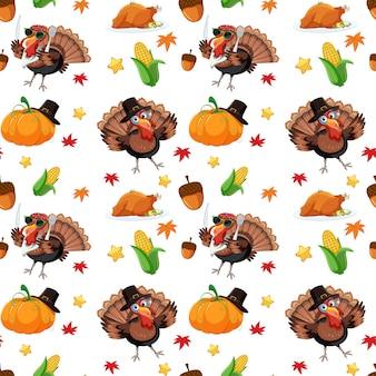 Осенний бесшовный узор из индейки