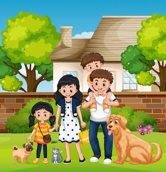 Семья перед домом