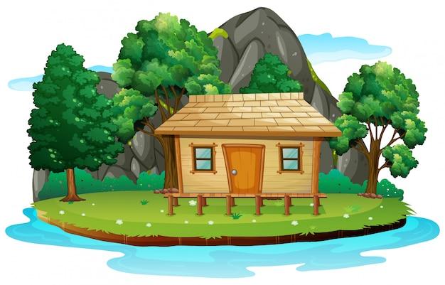 孤立した島の小屋