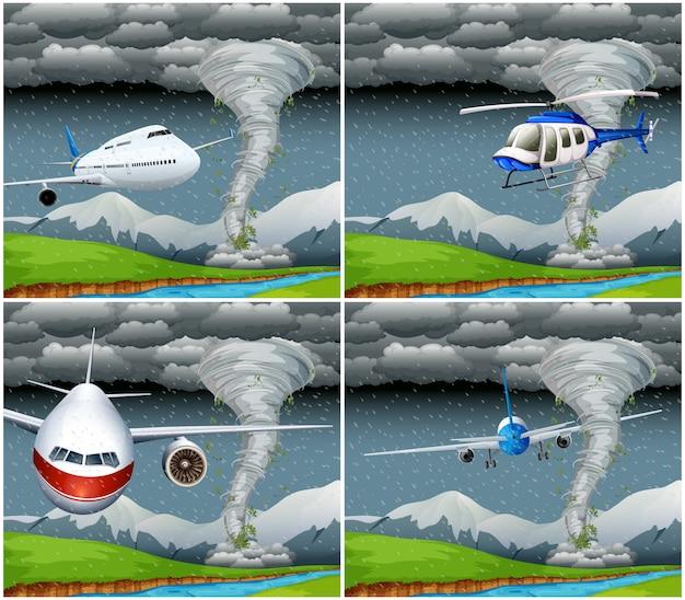 悪天候で飛んでいる飛行機のセット