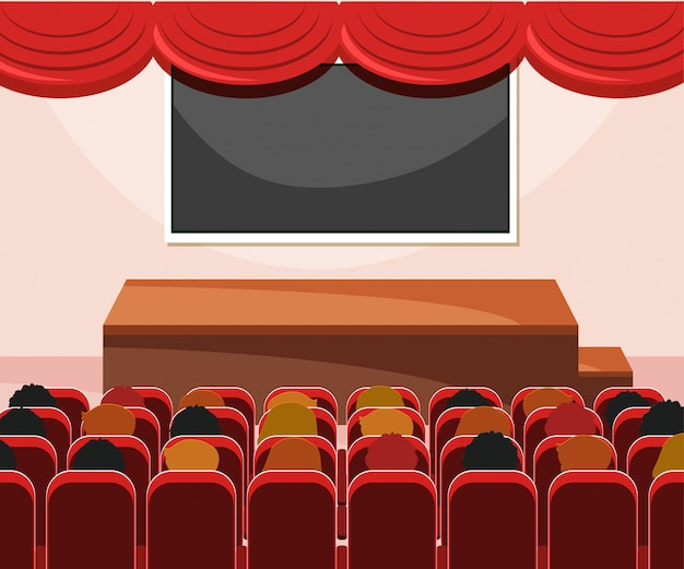Интерьер сцены с аудиторией