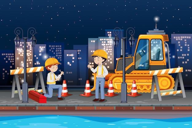 Инженер ремонтирует дорогу