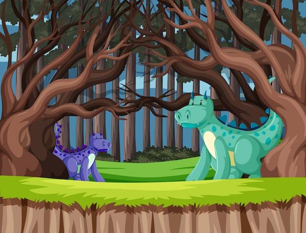 森の中でかわいいドラゴンズ