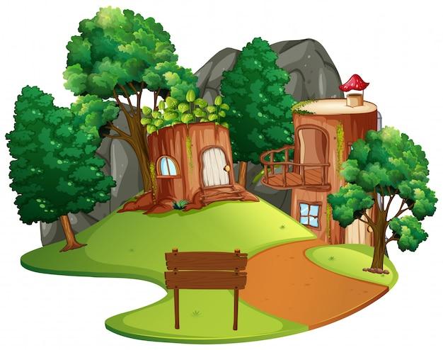 孤立した魅惑の木の家