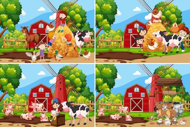 農場で遊んでいる子供たちのセット