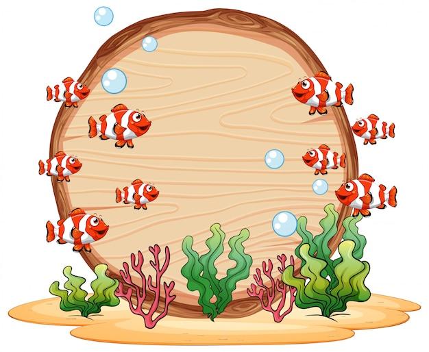 水中の木製フレームの背景