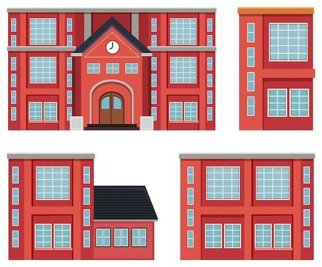 赤い建物の概念のセット