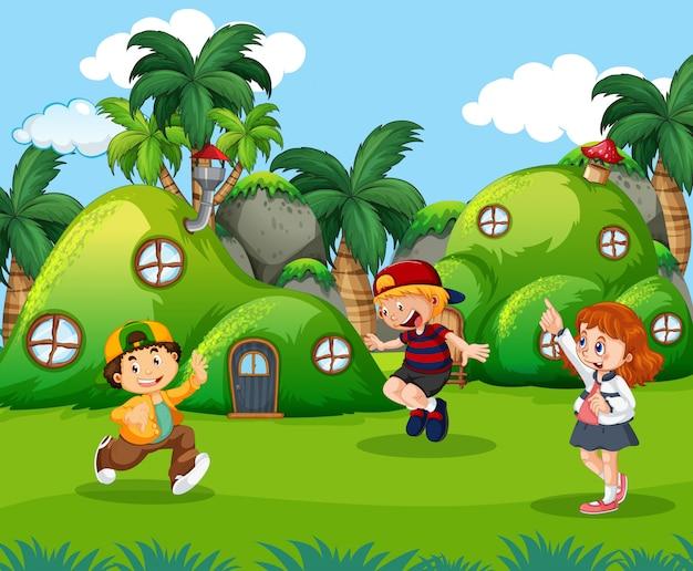 ファンタジーの土地で遊んでいる子供たち