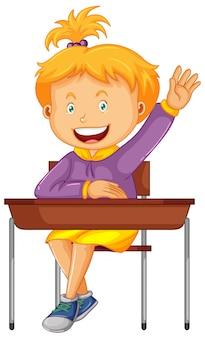 女子学生は学校の机の上に座る