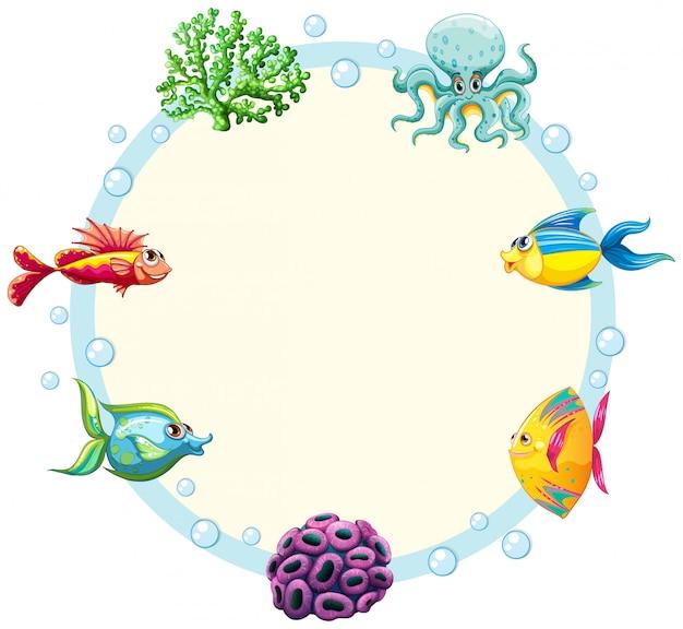 水中生き物ボーダーテンプレート