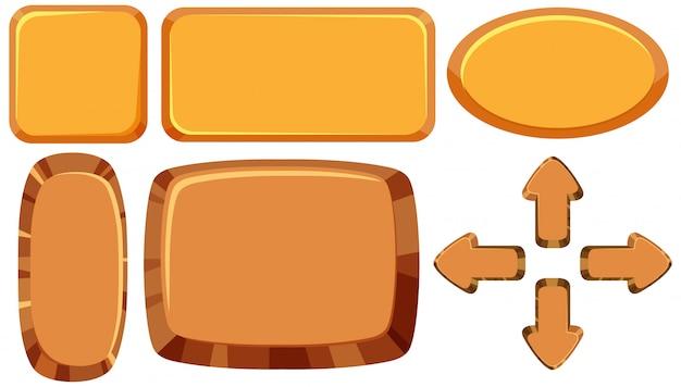 空白の木製看板のセット
