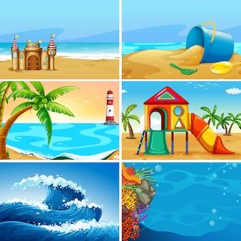 夏のビーチ風景のセット