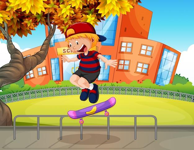 学校でスケートボードをしている少年