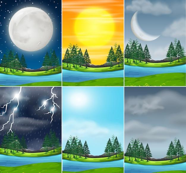 Набор природы ландшафта разной погоды