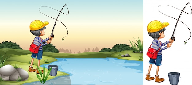 Сцена рыбака в реке
