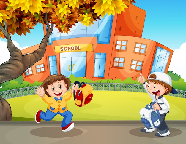 学校で幸せな学生