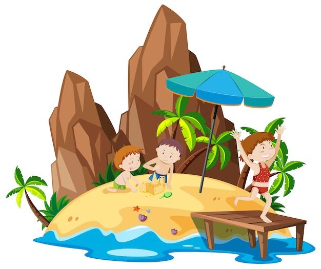 ビーチの島の人々