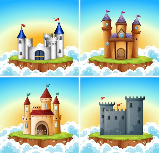 城のイラストのセット