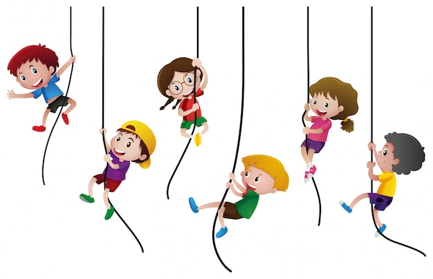 Многие дети поднимаются по веревке