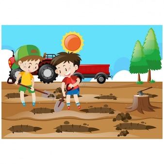 Дети посевные фоне деревьев