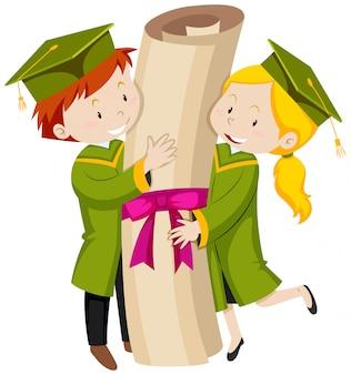 緑の卒業ガウンの男女