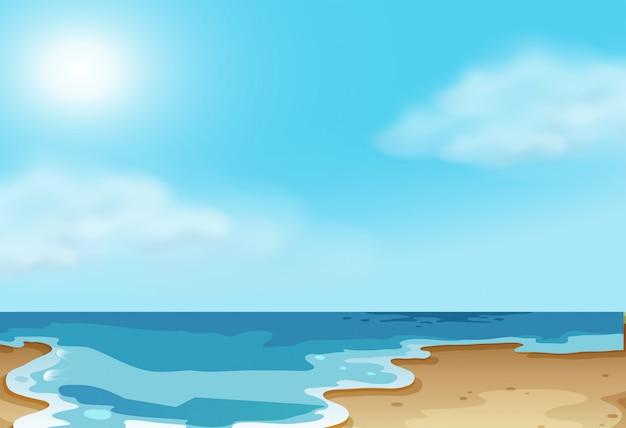 自然沿岸のビーチのシーン