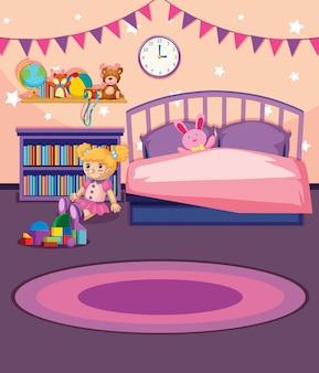 女の子の寝室のイラスト
