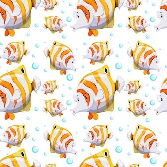 Бесшовные шаблон дизайна с рыбой и пузырьками