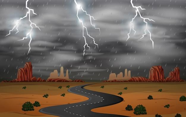 砂漠の風景で雷雨