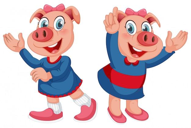 かわいい豚キャラクターのセット