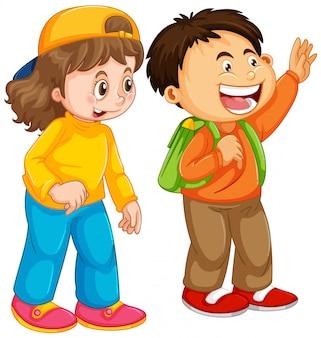男の子と女の子の学生キャラクター