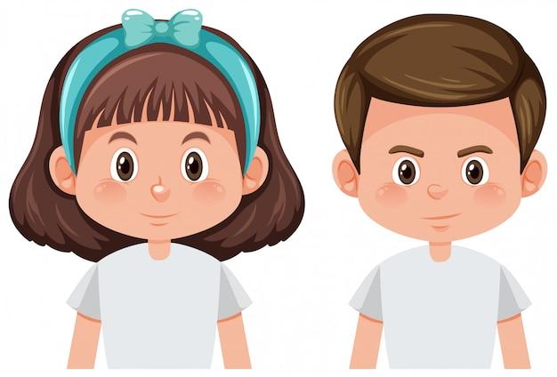Мальчик и девочка изолированы