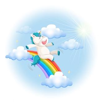 Счастливое скольжение единорога на радуге