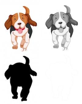 ビーグル犬キャラクターのセット