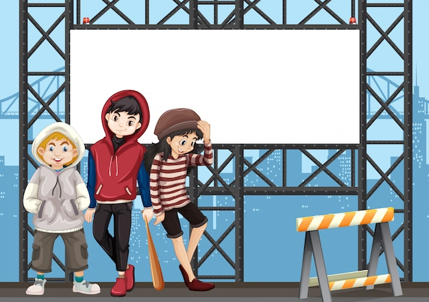 Группа подростков на городской рекламный щит