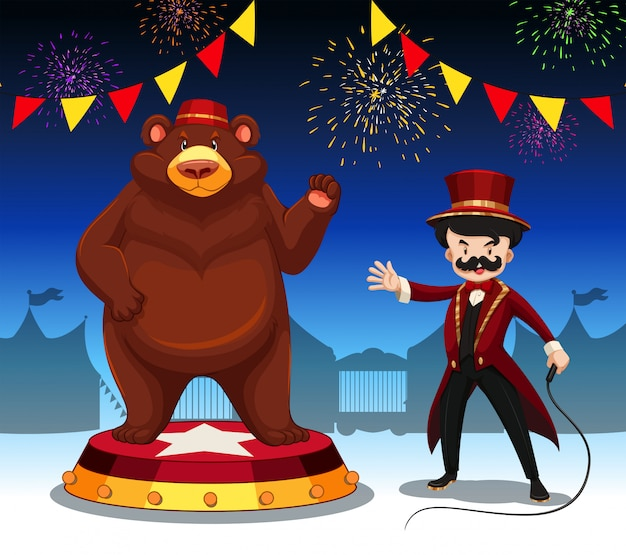 Мастер ринга и медведь на цирковом шоу